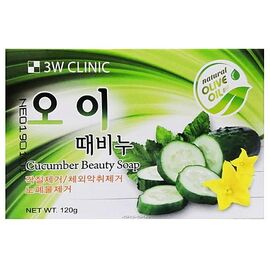 3W Clinic Мыло кусковое с экстрактом огурца - Cucumber beauty soap, 120г, По компонентам: Огурец