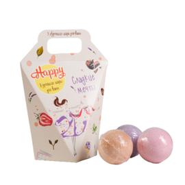 Beauty Fox Набор бурлящих шаров для ванн «сладкие мечты» - Happy, 3шт*40г