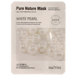 Маска для лица тканевая Anskin Secriss Pure Nature Mask Pack - White pearl, 25мл, По компонентам: Жемчуг