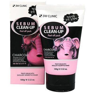 3W Clinic Маска-плёнка с черным углем - Sebum clean-up peel off pack, 100г