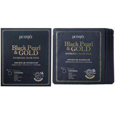 Petitfee Маска для лица жемчуг/золото - Black pearl gold hydrogel mask pack, 32г*5шт (упаковка)