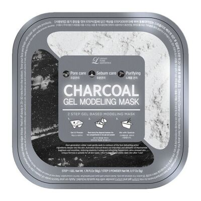 Lindsay Маска альгинатная с древесным углем (пудра+гель) - Charcoal gel modeling mask, 55г