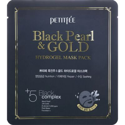 Petitfee Маска для лица гидрогелевая жемчуг/золото - Black pearl gold hydrogel mask pack, 32г