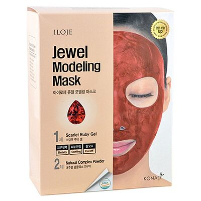 Konad Маска моделирующая для лица с рубиновой пудрой - Jewel modeling mask scarlet ruby, 5шт*55г